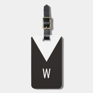 Monograma geométrico branco preto legal elegante tag de bagagem