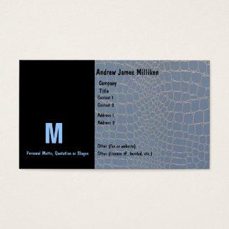 Monograma inicial azul de Snakeskin Cartão De Visitas