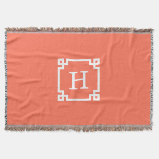 Monograma inicial chave grego branco coral do throw blanket