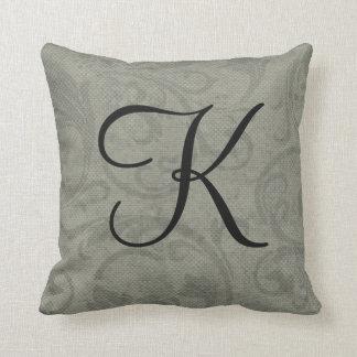 Monograma inicial cinzento customizável almofada
