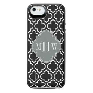 Monograma inicial do carvão vegetal 3 brancos capa carregador para iPhone SE/5/5s
