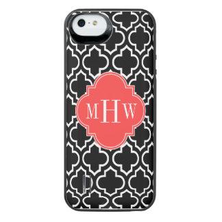 Monograma inicial do vermelho 3 corais brancos capa carregador para iPhone SE/5/5s