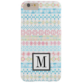Monograma inicial Pastel tribal asteca Capa Barely There Para iPhone 6 Plus