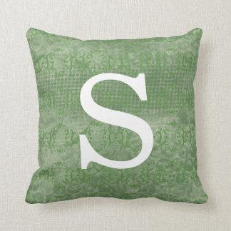 Monograma inicial verde silenciado almofada