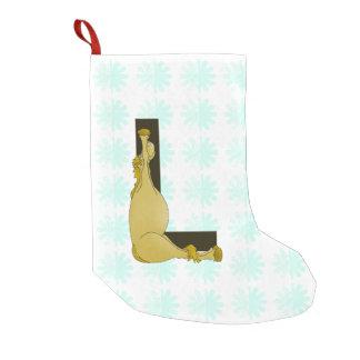 Monograma L cavalo flexível personalizado Meia De Natal Pequena