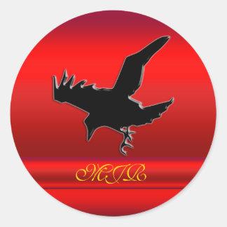 Monograma, logotipo preto do corvo no cromo-efeito adesivos em formato redondos