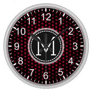 Monograma moderno das bolinhas carmesins relógio grande