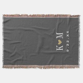 Monograma moderno do casamento das cinzas e do throw blanket