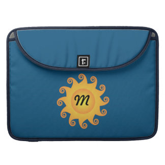 Monograma na moda alegre adorável do azul do sol bolsas para MacBook