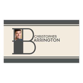 Monograma personalizado da letra inicial B da foto Cartão De Visita