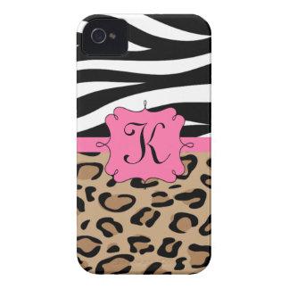 Monograma personalizado impressão da zebra e do capinhas iPhone 4