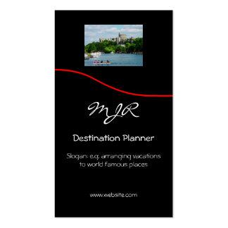 Monograma, planejador do destino, swoosh vermelho cartão de visita