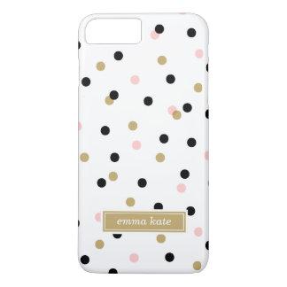 Monograma preto dos pontos dos confetes do rosa e capa iPhone 8 plus/7 plus