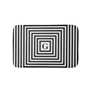 Monograma preto e branco tapete de banheiro