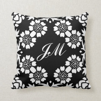 monograma preto e branco travesseiro