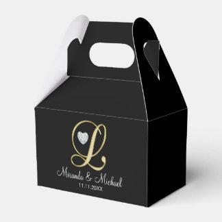 Monograma preto elegante L presente do coração do Caixinhas De Lembrancinhas Para Casamentos