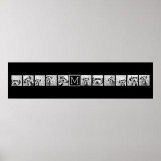 Monograma preto feito sob encomenda da colagem de poster