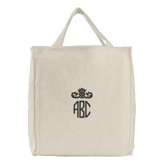 Monograma preto formal com o saco bordado coroa bolsas de lona