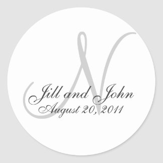 Monograma que Wedding a etiqueta inicial do selo Adesivos Em Formato Redondos