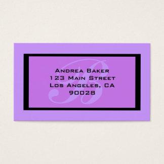 monograma roxo cartão de visitas