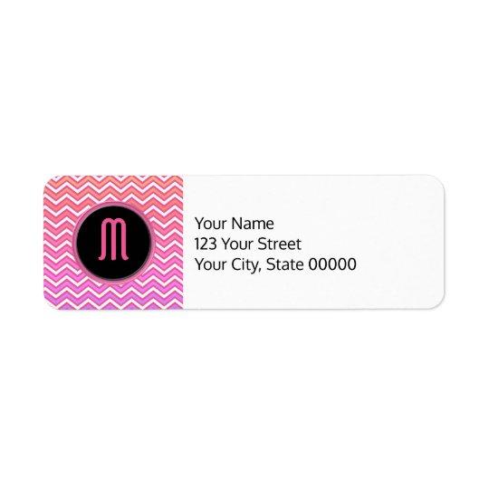 Monograma roxo cor-de-rosa de Chevron Etiqueta Endereço De Retorno