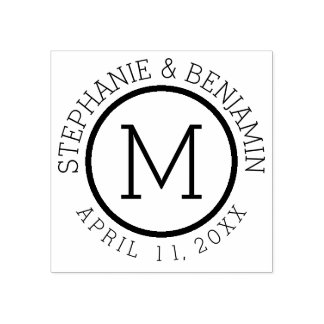 Monograma simples com data do nome e do casamento carimbo de borracha