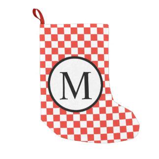 Monograma simples com tabuleiro de damas vermelho bota de natal pequena