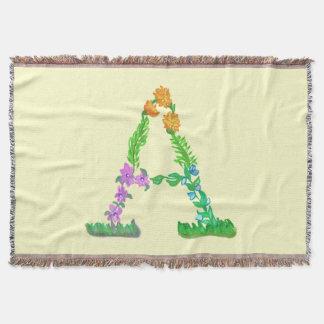 Monograma tirado A do divertimento mão colorida Throw Blanket