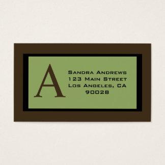 monograma verde cartão de visitas