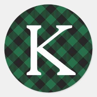 Monograma verde da inicial do feriado da xadrez do adesivo