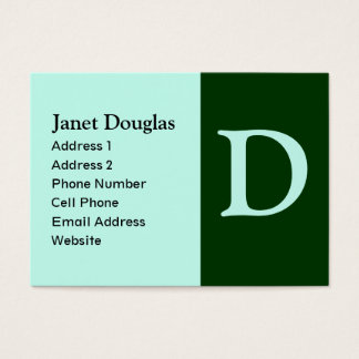 monograma verde de turquesa cartão de visitas