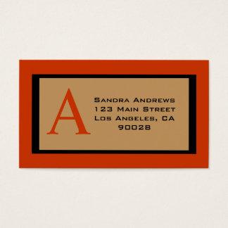 monograma verde do biege cartão de visitas