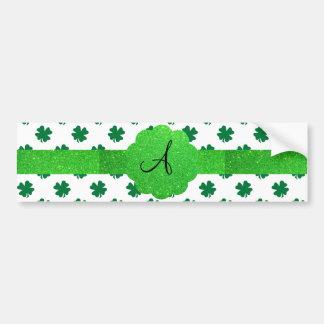 Monograma verde dos trevos adesivo para carro