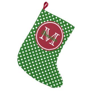 Monograma verde e vermelho do feriado das bolinhas meia de natal pequena