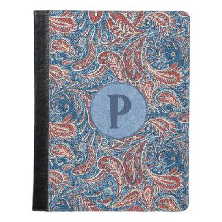 Monograma vermelho, branco e azul de Paisley da