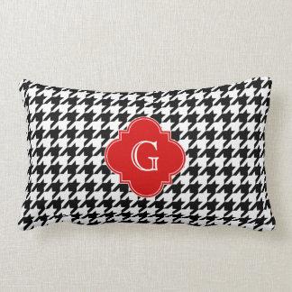 Monograma vermelho branco preto de Houndstooth Travesseiro De Decoração