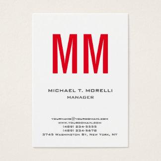 Monograma vermelho branco simples liso original cartão de visitas