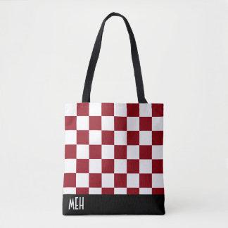 Monograma vermelho Checkered Bolsas Tote