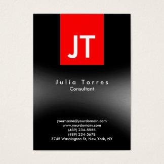 Monograma vermelho cinzento preto na moda moderno cartão de visitas