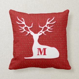 Monograma vermelho e cervos brancos almofada