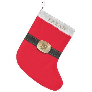 Monograma vermelho festivo tradicional do terno do meia de natal grande