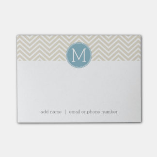 Monogramas azuis e de linho Pastel do costume das Post-it Notes