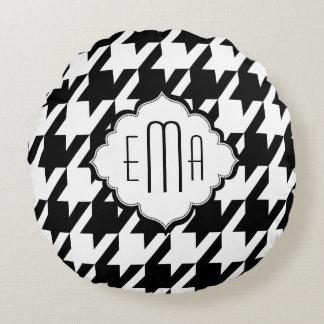 Monogramed Houndstooth preto e branco Almofada Redonda