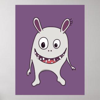 Monstro feliz dos dentes rachados engraçados pôsteres