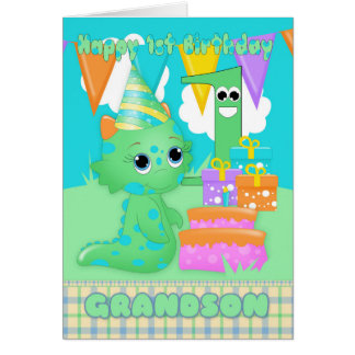 Monstro pequeno bonito do primeiro aniversario do cartão