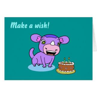 Monstro-rinoceronte bonito cartão comemorativo