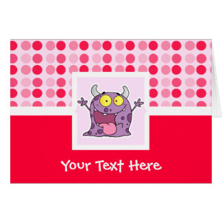 Monstro roxo feliz bonito cartão comemorativo