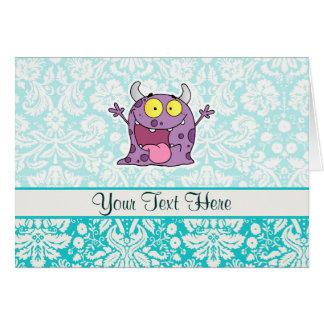 Monstro roxo feliz; Bonito Cartão Comemorativo