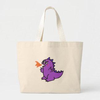 monstro roxo pequeno bonito do dragão do fogo bolsa para compras