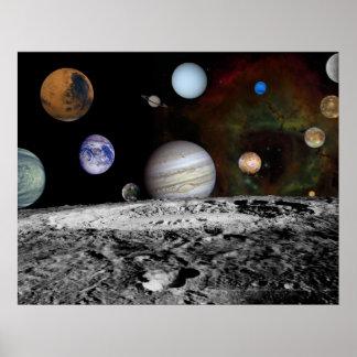 Montagem do sistema solar poster
